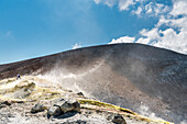Volcano, Messina district, Sicily, Italy, Europe, Sulfur fumaroles on the crater rim of Vulcano