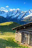 Alpine hut framed by meadows and snowy peaks at dawn Tombal Soglio Bregaglia Valley canton of Graubünden Switzerland Europe