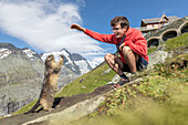 Man with an alpine marmot in front of Großglockner, High Tauern National Park, Carinthia, Austria