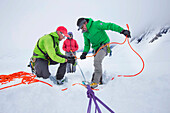 Denali National Park Service Ranger Dave Weber is showing rope techniques to Phunuru Sherpa. In 2009 the Nepalese mountain guide was the first to take part in the Sherpa Exchange Program, organized by the Khumbu Climbing Center to share mountaineering and