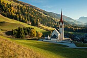 Iconic alpine church in Winnebach, South Tyrol, Dolomites, Italy.