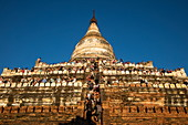 People crowd terraces of Shwesandaw Pagoda to watch the sunset, Bagan, Mandalay, Myanmar