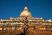 People crowd terraces of Shwesandaw Pagoda to watch the sunset, Bagan, Mandalay, Myanmar