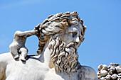 'Frankreich, Paris. 1. Arrondissement. Jardin des Tuileries. Skulptur ''Der Nil'' von Lorenzo Ottone.'