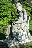 'France, Paris, 5th district. Jardin des plantes. The statue '' Science and mystery '' by Jean-Louis-Desire Schrœder (1889); a philosopher wonders about the origin of life by meditating on an egg'
