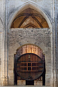 France, Southern France, Vileveyrac, Cistercian abbey of Holy Mary of Valmagne, 13th century, gothic style, nave nave turned into a wine storehouse after the Revolution