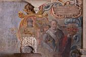 Mexico, State of Guanajuato, Baroque frescoe at the entrance representing Europe, sanctuary of Jesus Nazareno de Atotonilco, 18th century
