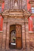 Mexico, State of Guanajuato, San Miguel de Allende, 18th century door in the Old Town