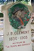 'France, Paris 20th district. Pere Lachaise cemetery. The grave of Jean Baptiste Clement, author of the song '' Le temps des cerises'''