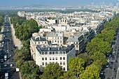 France. Paris 16th district. Place de l'Etoile. Left side: avenue Foch. Right side: avenue de la Grande Armee