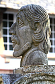 France, Brittany, Finistere, Pont Aven. Statue of Paul Gauguin.