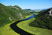 Montenegro, Meander of the river Crnojevica, streaming of the lake Skadar