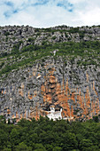 Montenegro, Orthodox monastery of Ostrog imbricated in the cliff of the mount Ostrog