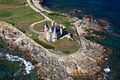 France, Western France, aerial view of Quiberon peninsula. Castle of Quiberon.