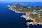 France, Western France, aerial view of Quiberon peninsula. Wild coast.