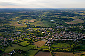 France, Lot, aerial view of the town and countryside of Montcuq