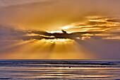 France, Normandy. Manche. Montmartin sur Mer. Light effect at sunset.