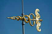 France. Paris 9th district. Caduceus weather vane of the terrace of the department store Au Printemps
