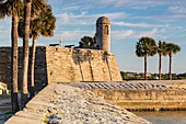 Castillo de San Marcos National Monument bathed in early morning light, St. Augustine, Florida.