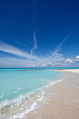 The sands of Grace Bay, the most spectacular beach on Providenciales, Turks and Caicos, in the Caribbean, West Indies, Central America