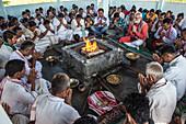 Hawan ,offering to fire god, at Karbi Anglong District Brahma Dharma Jyoti Mondir, Langhin Manikpur, India, Asia