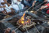 Hawan ,offering to fire god, at Karbi Anglong District Brahma Dharma Jyoti Mondir, Langhin Manikpur, Assam, India, Asia