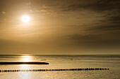 Sunrise at the Jade Bay, Wattenmeer National Park, German North Sea, Wilhelmshaven, Lower Saxony, Germany