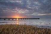Sunset at the Jade Bay, Wattenmeer National Park, German North Sea, Dangast, Varel, Landkreis Friesland, Lower Saxony, Germany
