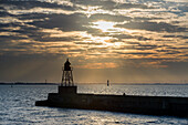 Sunrise at the North Mole, Wattenmeer National Park, German North Sea, Wilhelmshaven, Lower Saxony, Germany
