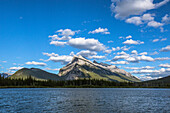 Majestic natural scenery of Mount Rundle and Vermilion Lakes in Banff National Park, Alberta, Canada