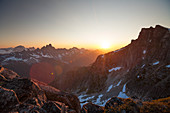 Photograph with majestic scenery of North Cascade Mountain Range at sunset, Chilliwack, British Columbia, Canada