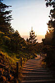 Photograph of steps leading down to beach at Lands End at sunset, San Francisco, California, USA