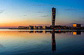 Skyline in the evening light with turning torso from the rehabilitated harbor area, Malmo, Southern Sweden, Sweden
