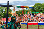 Medieval festival Knights games, riders with lance at the jousting tournament, Schweden