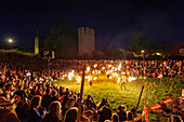 Great fire show at the city wall. Medieval festival, Schweden