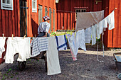 Laundry hangs to dry in the open-air museum Gamla, Sweden