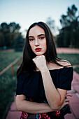Portrait of pensive Caucasian woman