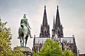 UNESCO World Heritage Cologne Cathedral, statue of Emperor WilhelmII, Cologne, North Rhine-Westphalia, Germany