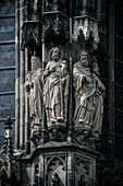 UNESCO World Heritage Aachen Cathedral, detail of stone sculptures on the front facade, Aachen, North Rhine-Westphalia, Germany