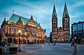 UNESCO World Heritage, Bremen town hall, Cathedral at night, Hanseatic City Bremen, Germany