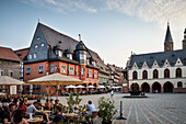 UNESCO World Heritage historic old town of Goslar, Kaiserworth, town hall and North tower of Parish Church, Market square, Harz mountains, Lower Saxony, Germany