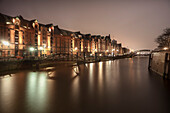UNESCO World Heritage Speicherstadt - warehouse dock in the evening, Hamburg, Germany