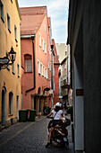 UNESCO World Heritage Old Town of Regensburg, alley at old town, Bavaria, Germany