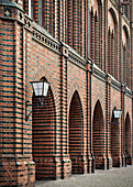 UNESCO World Heritage Hanseatic city Stralsund, gothic archways on the town hall, Stralsund, Mecklenburg-West Pomerania, Germany, Baltic Sea
