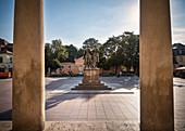 UNESCO World Heritage Classical Weimar, view through pillars to Goethe and Schiller Memorial, Weimar, Thuringia, Germany
