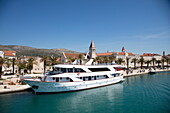 Cruise ship Casanova docked alongside seafront promenade in Old Town, Trogir, Split-Dalmatia, Croatia