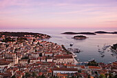 Overhead of town and harbor from Hvar Castle at sunset, Hvar, Split-Dalmatia, Croatia