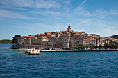 Old Town seen from cruise ship MS Romantic Star (Reisebüro Mittelthurgau), Kor?ula, Dubrovnik-Neretva, Croatia