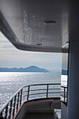 Adriatic Sea and coastline seen from aboard cruise ship MS Romantic Star (Reisebüro Mittelthurgau), near Kor?ula, Dubrovnik-Neretva, Croatia