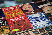 Russian chocolates with unique packaging labels for sale at souvenir stand outside Peterhof Palace (Petrodvorets), St. Petersburg, Russia